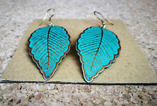 Large Leaf Shape Hook Earrings in Turquoise with Gold Edging Handmade in India