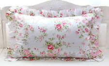 Shabby Chic Cottage Large Pink Floral Rose on White Ruffle Edge Pillow Case Sham