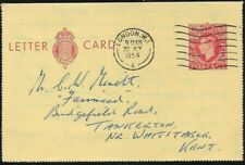 Gb 1954 Letter Card - 2 1/2 Pence Red - Used from London to Tankerton Kent