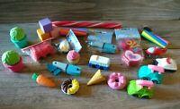 Lot Of Miscellaneous Novelty Figural Erasers Japanese Iwako Tonaka VW cars food