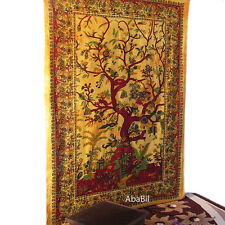 Psychedelic Yellow Tree Of Life Tapestry Wall Hanging Throw Ethnic Tie & Dye Art