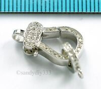 1x Rhodium plated STERLING SILVER CLEAR CRYSTAL CZ  LOBSTER CLASP 17.6mm #2876