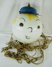 "1950's Cute Baseball Player Boy 7 1/2"" Globe Swag Light w/ Chain Original"