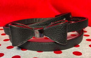 Fabulous Black faux Leather retro thin Bow buckle fashion Belt S