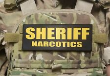"3x8"" SHERIFF NARCOTICS Gold on Black Hook Back Morale RAID Patch SWAT LEO Badge"