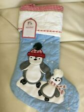 Pottery Barn Kids Christmas Quilted Blue Penguin Stocking No Mono