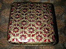 Enameled Brass Sheeted Wooden Box with Floral Design