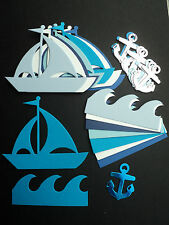 Boats, Waves, Anchors Nautical Holiday Travel die cut set for toppers