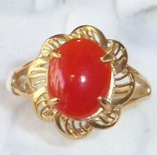 (Size 7) 2g Hawaiian Jewelry Red Coral Scroll 14K Solid Yellow Gold Ring