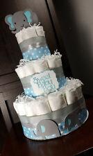 3 Tier Diaper Cake - Blue Elephant Theme Diaper Cake Boy Diaper Cake