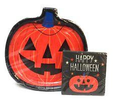 Happy Halloween Jack O Lantern Party Pack Dinner Plates Napkins Pumpkin Shape