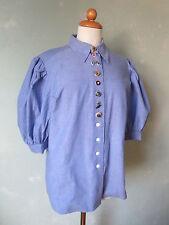 Perry Bluse Trachtenbluse Trachtenhemd Damen hell blau ausgefallen 42 XL (B13) #