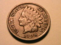 1908 Bronze Indian Head Cent Nice XF Original Brown Tone US Small Penny Coin
