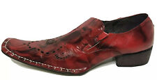 Fiesso Mens Embroidered Red Leather Loafers Sz 11 By Aurelio Garcia A3110720