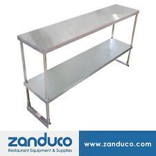 """Zanduco Stainless Steel 14"""" x 60"""" x 32"""" Double Tier Overshelf w/ Leg and Socket"""