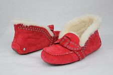 UGG Poler Fully Lined Suede Wool Moccasin Slippers Lipstick Red Size 6 US