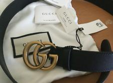 Authentic Gucci Double G Buckle Belt Black Leather Women New