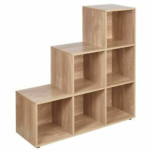 Step Style 6-Cube Storage Bookshelf Wooden Bookcase Display Shelf Cabinet Oak