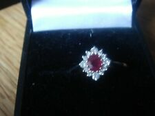 9CT WHITE GOLD  RUBY AND DIAMOND CLUSTER/ GREAT RUBY ANNIVERSARY PRESENT