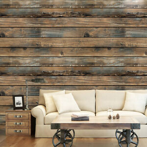 "US 18x236"" Retro Wood Board Textured Stick Self-adhesive Wallpaper Brown 3D Roll"