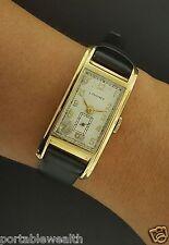 Longines 20mm Rectangle Retro Watch 14K YG Leather Black Band Cal 9L Mechanical