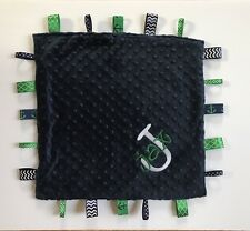 Baby Gift Nautical Anchors Minky Taggie Security Blanket Personalized Navy Green