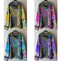 T Oversize V-Neck Sleeve Women Long US thin Floral Tops Lantern Blouse Shirt