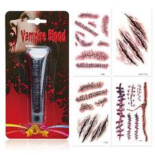 Kunstblut Blut + 4 Halloween Tattoo Bogen Theaterblut Fake Blood Narben Kratzer