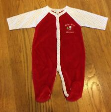 Kissy Kissy Newborn Christmas Playsuit Outfit NEW Footed Sleeper Velour