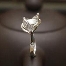 women engagement wedding ring 8mm round pearl semi mount fashion silver 925 ring
