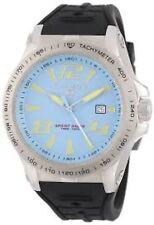 NEW Swiss Legend 10043-012 Men's Sprint Racer Light Blue Dial Black Strap Watch