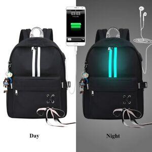 Mochila De Moda Mujer Niña Bolso De Viaje Laptop Carga USB Antirrobo Reflectante