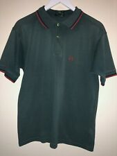 Vintage Fred Perry Polo Shirt Green With Red & Blue Twin Tip Size S