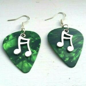 Green Guitar Pick Music Pendant Earrings Jewellery Costume Glam Rock quaver note