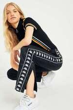 KAPPA BLACK BANDA TAPE RETRO 90S BLOGGER SNAP POPPER TRACK SWEAT PANTS BOTTOMS L