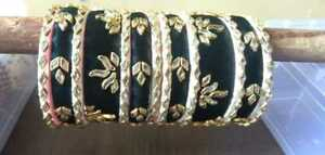 Black, White Silk Thread Kundan Bangles Bridal Jewelry Wedding Gift For Her