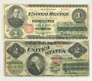 $1 and $2 Series 1862 Legal Tender United States Notes nice looking pair