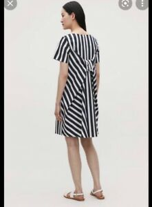 COS Navy Blue Vertical Stripe dress with back knot - size EUR 36