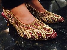 Size 7 Ladies Indian Bollywood Shoes Heels Sandals Chappals Maroon Gold J13