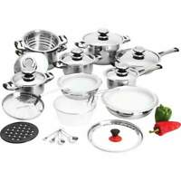 28 Piece 12-Element High-Quality, Heavy-Gauge Stainless Steel Cookware Set