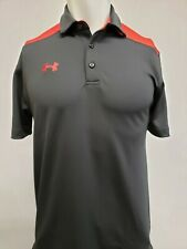 New Under Armour Men's HeatGear Two-Toned Polo, Black/Red, M, L