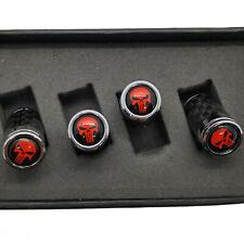 Genuine Carbon Fiber Valve Stem Cap with red skull Punisher
