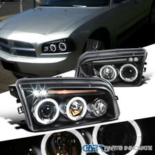 Dodge 06-10 Charger Black LED Halo Projector Headlights Head Lamps Left+Right