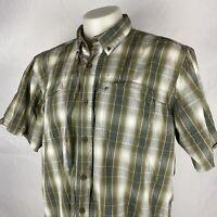Carhartt Mens Force Vented Button Down Shirt Green Plaid Relaxed Fit XL EUC
