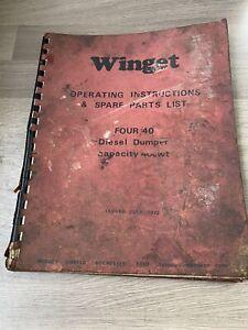 WINGET MODEL FOUR/40 2 TON DIESEL DUMPER OPERATING & SPARE PARTS LIST 4 WD