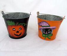 Set Of 2 Halloween Metal Pumpkin Mini Buckets Primitive Tealight Candle holders