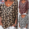 Womens V Neck Leopard Print T-Shirt Ladies Loose Short Sleeve Blouse Tops Tee US