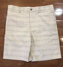 Men's Size 32 Greg Norman Golf Shorts Brown Plaid