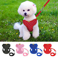 Bling Breathable Pet Puppy Dog Harness and Leash Set for Small Medium Breed