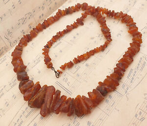 Vintage Big and Chunky Genuine Raw Baltic Amber Nugget Beaded Necklace 53g